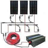 ECO-WORTHY 500W単結晶ソーラーパネルシステム:160W 12v*3枚 500W グリッドインバーター付属 L02M150-12IY500USA-3
