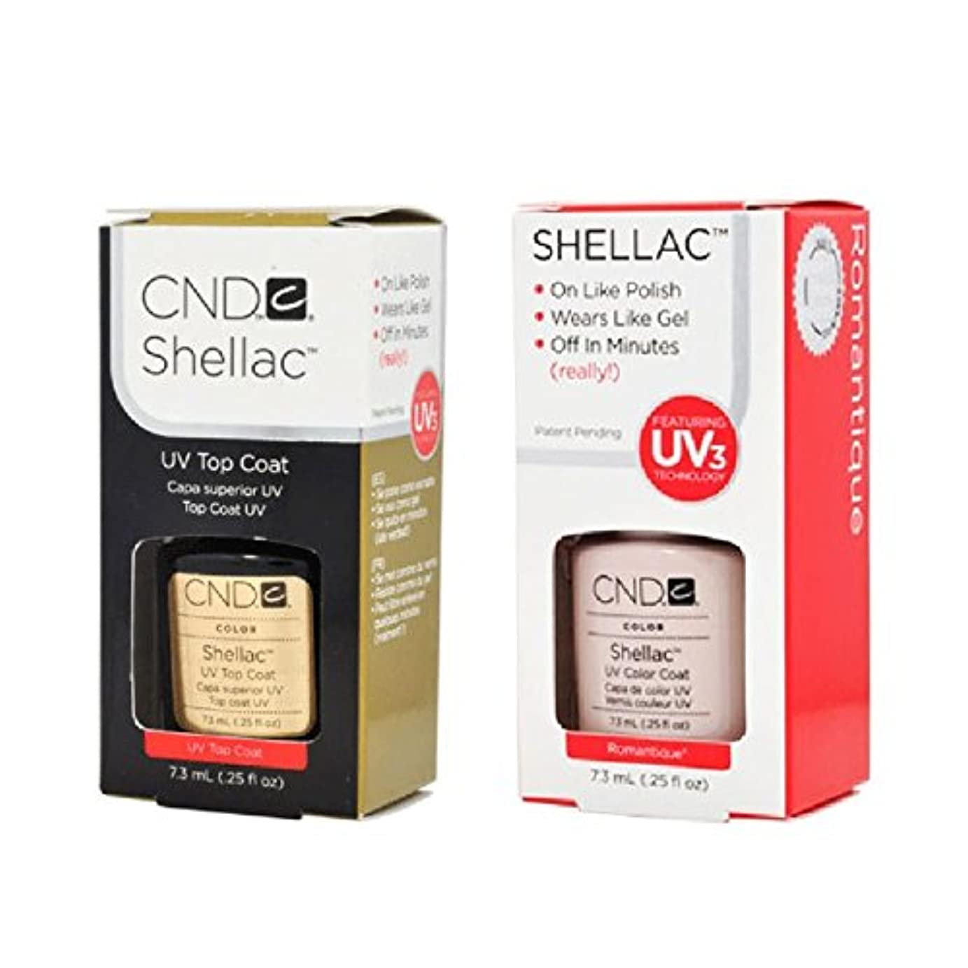 穴衣類バックアップCND Shellac UVトップコート 7.3m l  &  UV カラーコー< Romantique>7.3ml [海外直送品]