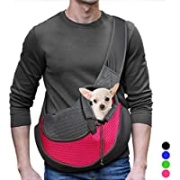 YUDODO Pink Pet Carrier, Soft Sling Shoulder Bag for Small Dog Cat, Chihuahua Tote Bag for Walks (Pink, M fits Puppy Less Than 10lb)