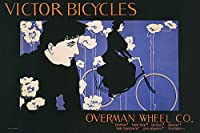 Victor Bicycles水平William Henry BradleyビンテージAdポスター(選択サイズ、印刷またはキャンバス) 24x36 Unstretched Canvas IC-B3113D36X24C