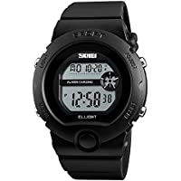 Womens Watch Mens Watch Unisex Sports Digital LED Waterproof Watch With Alarm Stopwatch Rubber Band Black