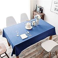 Marstreeソリッドカラーテーブルクロス長方形コットンのテーブルクロスキッチンダイニングテーブルのトップデコレーションのための防塵テーブルカバー (青, 130cm x 200cm)