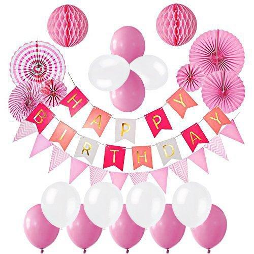 Oisee 誕生日 飾り付け セット 風船飾り バルーンセット 特大ペーパーフラワー ハニカムボール HAPPY BIRTHDAYガーランド 誕生日デコレーション お祝いに(ピンク)