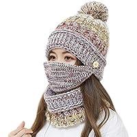 ニット帽 レディース ポンポン 目出し帽 3点セット プレゼント 防寒保温 小顔効果 耳を守る
