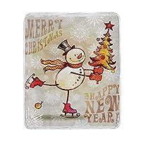 ブランケット、クリスマススケート幸せな雪だるまツリー陽気な手で描かれた華やかな雪片、マイクロファイバーオールシーズンベッドソファ、 150X200