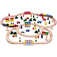 100-piece Triple-loop Wooden Train Set (Inc. 16 Trains and Cars!!) - 100% Compatible with All Major Brands Including Thomas Wooden Railway System - By Kids Destiny by Kids Destiny [並行輸入品]