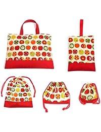 入園?入学5点セット キルティング (レッスンバッグQ/シューズケースQ/体操服袋/お弁当袋/コップ袋) おしゃれリンゴのひみつ(アイボリー) N8123700