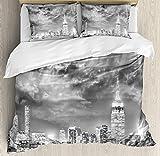 Anzona Urban羽毛布団カバーセット、劇的なNew York City Skyline Sun Beams Clouds超高層ビルモノクロ風景、装飾4点寝具セット、ブラックホワイト Twin Size