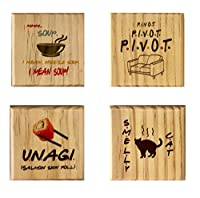 Friends Coasters (By Brindle Southern) Smelly Cat, Unagi, Pivot, Mmm Soup Wooden Coaster Set