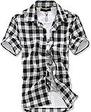 (ルビタス) rubitas チェック シャツ メンズ 半袖 ボタン ジャケット 格子柄 カッコイイ ゴルフ ウェア (M, 白黒チェック)