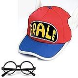 Dr.スランプ アラレ ちゃん 風 帽子 メガネ 2点 セット コスチューム用小物 ピンク×ブルー (Red x Blue)