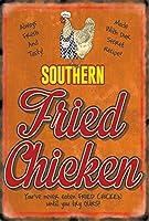 簡素な雑貨屋 Southern Fried Chicken Diner アメリカ ン 雑貨 メタル ブリキ 看板 アンティーク レトロ 壁飾 20x30cm