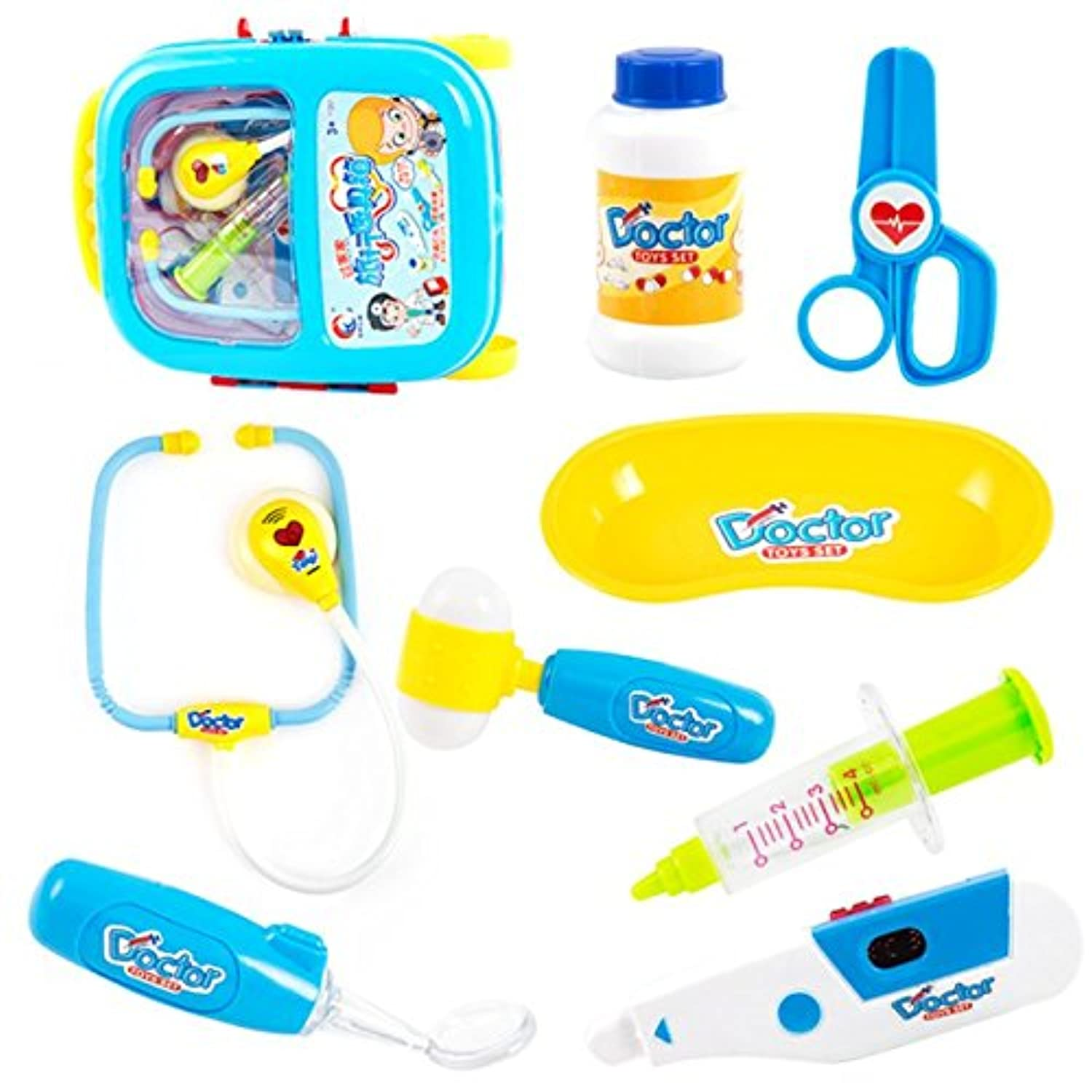 Pretend & Role Play Doctor Medical Kitおもちゃwith aトロリーケースfor Kids@@8pcsブルー@