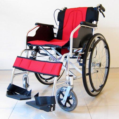 【チャップス】【全10色】艶やかなイタリアンレッド! 【軽量】【自走式】【アルミ】【車椅子】【ノーパンクタイヤ】【介助ブレーキ付き】【折りたたみ式】【背折れ】【車イス】【介助用】にも!【A101-AR】