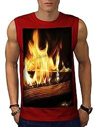 Wellcoda 燃焼 本 火災 自然 男性用 S-5XL 袖なしTシャツ