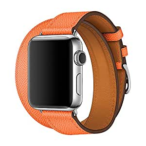 【WAfeel】Apple Watch アップルウォッチ通用バンド ウォッチ交換ベルト 本革レザー使用 全8色 二重巻き型 男女兼用 (38mm, 新オレンジ)