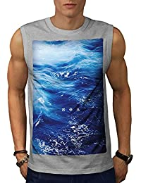 Wellcoda 深い 海 写真 自然 男性用 S-5XL 袖なしTシャツ
