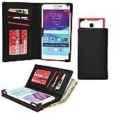 Cooper Cases(TM) PIX Meizu M1 / M1 Note / MX3 / MX4 / MX4 Pro スマートフォンウォレットケース(ブラック)(iOS/Android/Windows用デバイスに幅広く対応、傷や水はねに強い合皮、スライドフレームでカメラに簡単アクセス、カード入れ&ポケット、SIMカードホルダー付き紙幣入れ、飽きのこない洗練されたデザイン)