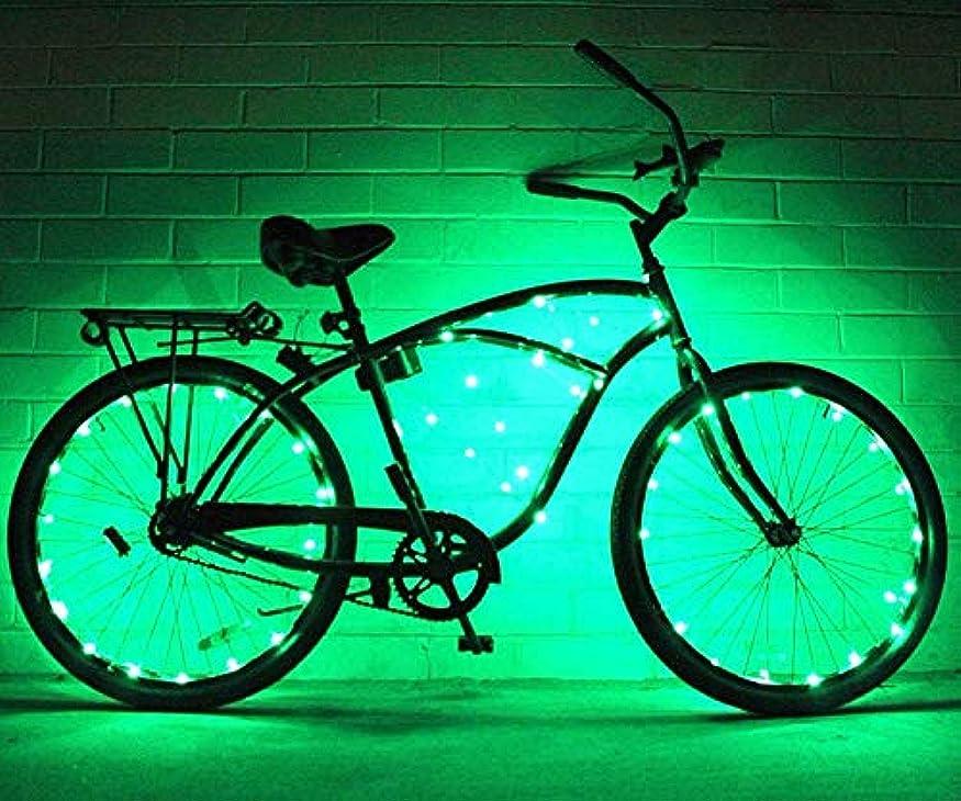 嫉妬解決するひばりUSB充電式自転車ライト 2セットの自転車ホイールライト文字列超明るいLED各種色自転車タイヤアクセサリー自転車リムライト自転車スポークライト超高輝度LED防水ホイールライトバイクライト (色 : 緑, サイズ : 2 pcs)