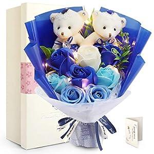 FAUHAL  LEDつきのバラ ソープフラワー ベア 枯れない花 石鹸 花 バラ 造花 花束くま束 ブーケ 可愛いぬいぐるみ(ベア2匹、ローズ8輪) 创意プレゼント結婚式 記念日 雛祭り ホワイトデーお礼用 お子さんに バレンタインデー 昇進 転居など最適としてのギフト メッセージカード付き(赤い、青い、パープル、ピンク)(青い)