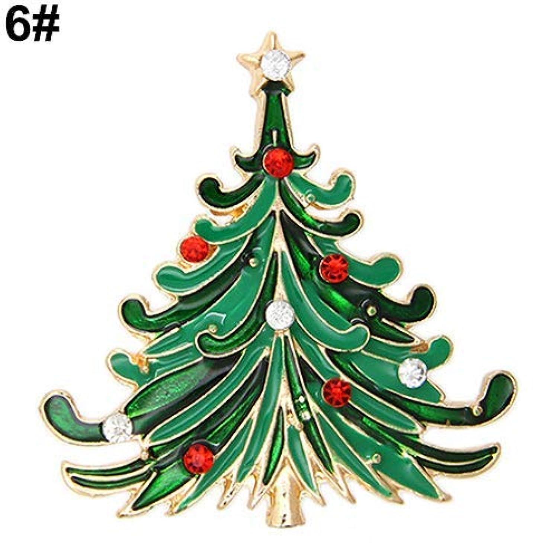 LUOSAI かわいいクリスマスブローチウェディングパーティークリスマスラブリーギフトジュエリーラインストーンエナメル合金ブローチピン (Color : 6#)