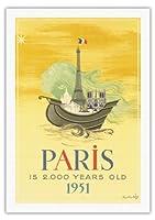 パリは2000歳 - 1951年パリ誕生日祝い - エッフェル塔フランス - ビンテージな世界旅行のポスター によって作成された ロジャー・シャープラン・ミディ c.1951 - 美しいポスターアート