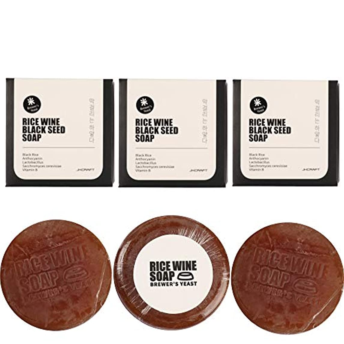 ホバート応答スカイJKCRAFT RICEWINE BLACK SEED SOAP 黒米マッコリ酵母石鹸,無添加,無刺激,天然洗顔石鹸 3pcs [並行輸入品]