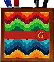 Rikki Knight Letter G Initial on Zig Zag Design 5-Inch Tile Wooden Tile Pen Holder (RK-PH45868) [並行輸入品]