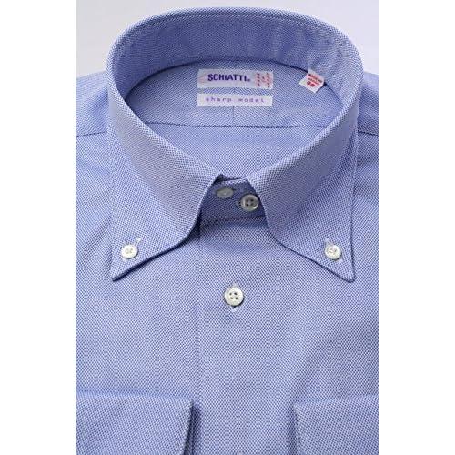 (スキャッティ) SCHIATTI ブルー無地 80番手 双糸 ロイヤルオックス デュエボットーニ ボタンダウン (細身) ドレスシャツ bd2741-4185