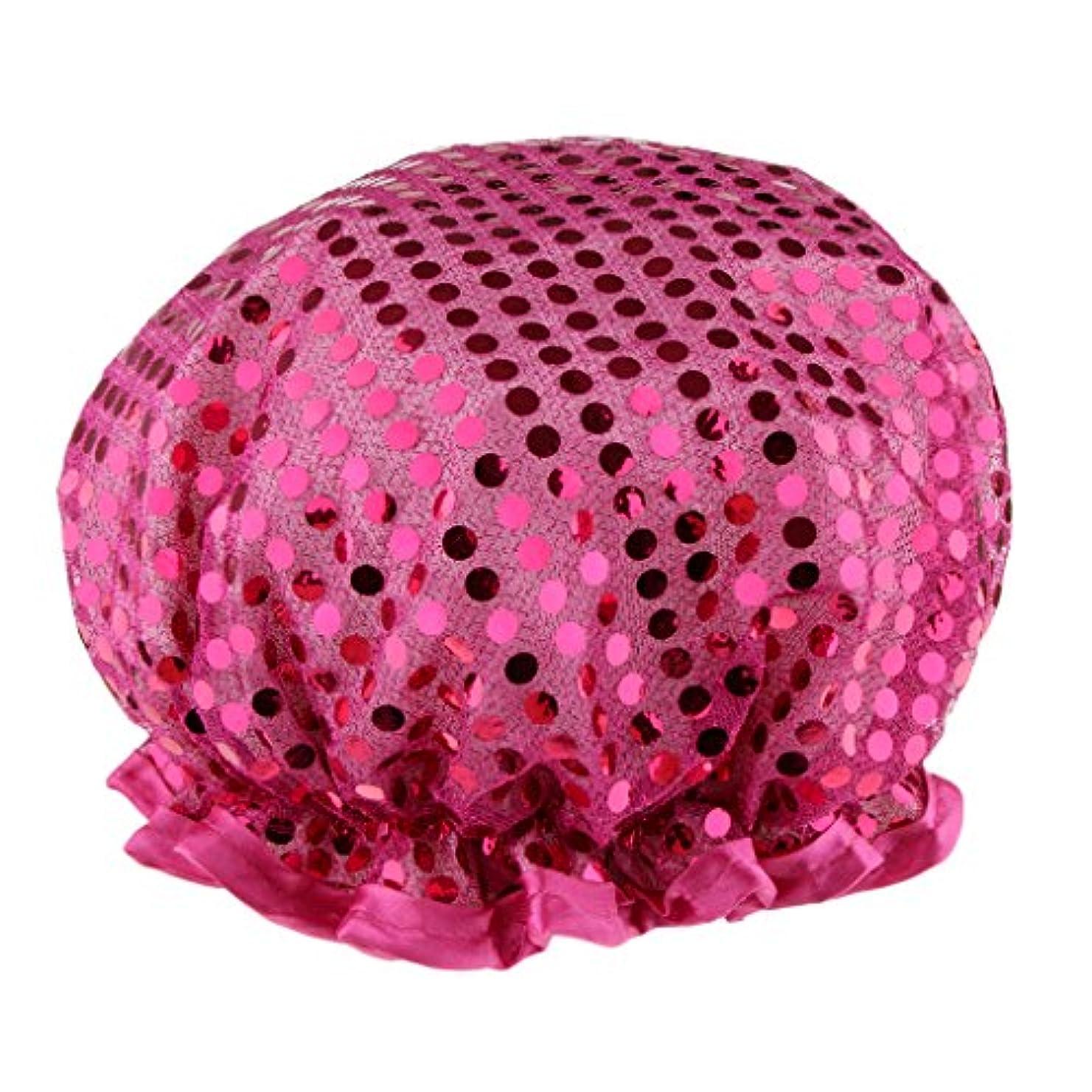 親密なくるみ和シャワーキャップ バスキャップ 入浴帽子 温泉 SPA シャワー 料理 ヘアマスク 女性用 耐久性 3色選べる - 紫