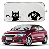 "Windshield Sun Shade with Cute Cartoon Design Car Sunshade Front Window, AYAMAYA-AU Funny Pet Front Auto Car Windshield Sun Shade Folding Silvering Sun Visor - UV Coating for UV Ray Deflector (59""x33"")"