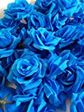 SeleCreate バラ ローズ 造花 フェイク フラワー 花 部分 のみ 50個 セット 青色