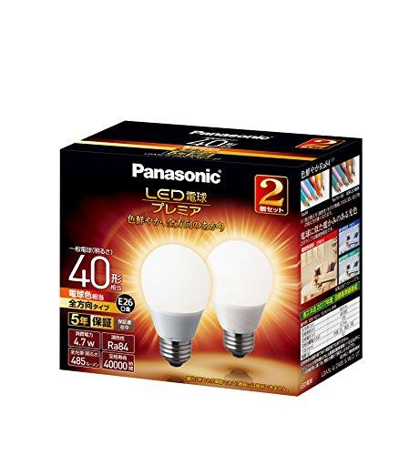 LED電球 プレミア 口金直径26mm 電球40W形相当 電球色相当(4.7W) 一般電球・全方向タイプ 2個入り 密閉器具対応 LDA5LGZ40ESW22T