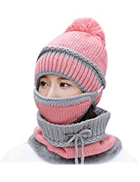 Winter Knitted Woolen Hat Warm Mask Collar Triple Suit Skin Care Caps Protection for Women Ball Caps Scarf