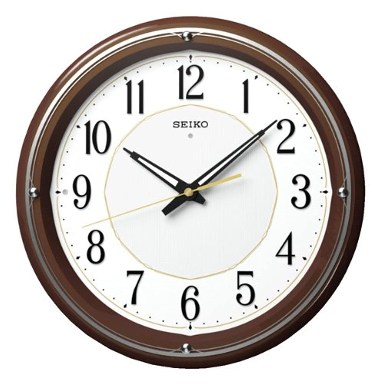 SEIKO CLOCK(セイコークロック) ファインライトNEO 自動点灯木枠アナログ電波掛時計(薄茶) KX396B