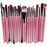 Bullidea 20 pcs Makeup Brushes Set Eyeshadow Face Eye Lip Eyeshadow Eyeliner Eyebrow Foundation Blush Blending Concealer Powder Liquid Cream Cosmetic Makeup Brush Kit(pink+coffee)
