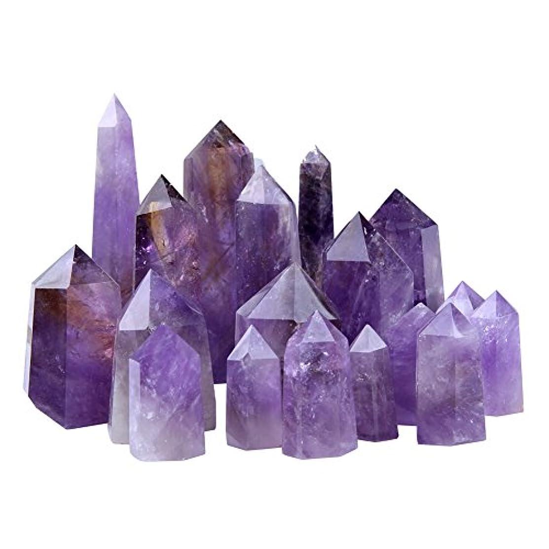 口ひげポール反対(Amethyst 2) - Natural Purple Crystal Point 6 Faceted Amethyst Wand, 0.5kg for Healing, Reiki, Grids, Figurine...
