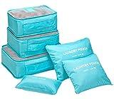 ange select トラベル ポーチ 6点 セット 衣類 小物 収納 ナイロン メッシュ 防水 バッグ 便利 ケース 旅行 出張 (ブルー)