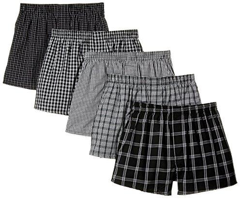 [セシール] パンツ 綿100% チェックトランクス(柄違い5枚組セット・前開き) S~5L AKT-317 メンズ