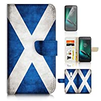 Moto ( G4 Play ) Flip Wallet Case Cover & Screen Protector Bundle! A20006 Scotland Flag Vintage