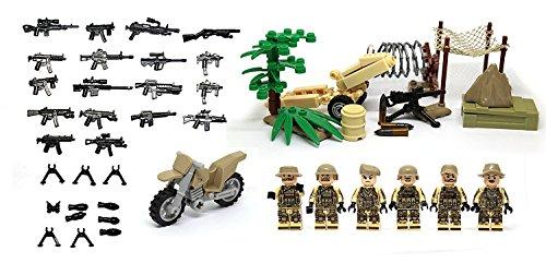 砂漠コマンドーとモーターバイク、80mmカノン、テント、砂漠アーマーと武器 [並行輸入品]