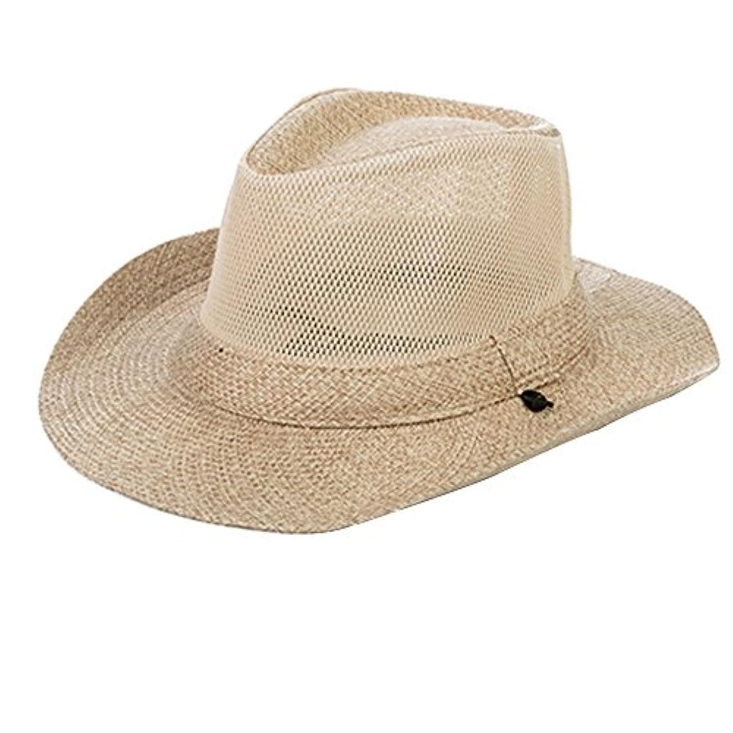 タイヤロイヤリティ咲くFYXD - アウトドアハットメンズバイザー夏日ハット旅行日焼け止めLiangmao漁師帽子編組麦わら帽子は、風ロープビーチハットを装備 (色 : ベージュ)
