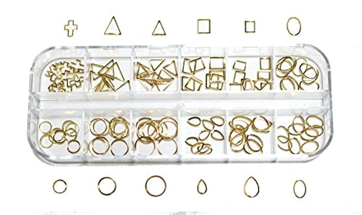 のため友情協会【jewel】 メタルフレームパーツ ゴールドorシルバー 12種類 各10個入り カラー選択可能☆ (ゴールド)