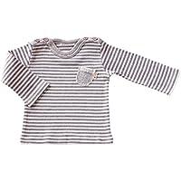 yuga☆ボーダー・Tシャツ グレー 80cm オーガニックコットン100% ベビー 服 男の子 女の子 兼用 トップス Tシャツ 長袖 ロンT 出産祝い プレゼント 綿100%