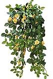 【SCGEHA】フェイクグリーン インテリア イミテーション 人工 観葉植物 壁掛け 癒し 造花 4カラー (イエロー/1本)