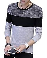 メンズ Tシャツ トップス 長袖 シンプル ロンT すっきり スリム (grey,2XL)