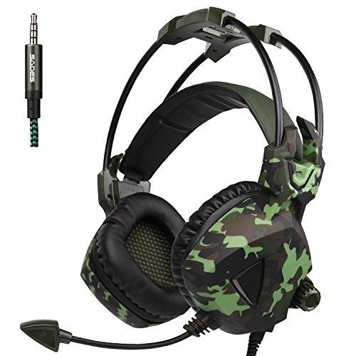 [新登場][迷彩版] ゲーミングヘッドセット PS4 イヤホン ステレオ ヘッドセット / 3.5mm コネクタ 高 集音性マイク マイク位置360度調整可能 ヘッドアーム伸縮可能 最高 音質 耐素材 重低音ステレオ ゲーム用ヘッドホン 音量調節機能&騒音抑制機 能 ラップトップやスマホ対応 SADES