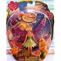 Disney Fairies Tinker Bell 3.5 Inch Mini Figure Tinker Bell Cloth Dress Works with Flitterific Wand! by Disney