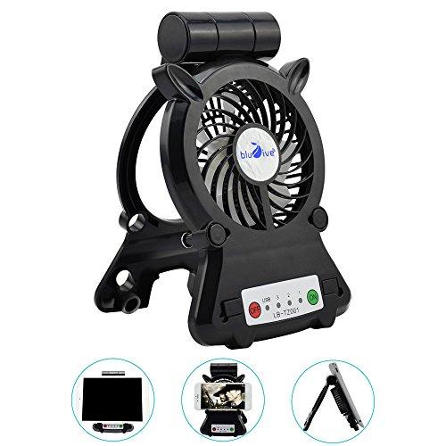 スマホ 冷却用 ファン masaling USB 卓上 扇風機 充電式 スマホ熱対策 タブレッ冷却用 モバイルバッテリー機能 スタンド LEDライト付き (ブラック)