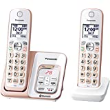 Panasonic Link2Cell Bluetooth Cordless Phone with Voice Assist and Answering Machine - 3 Handsets Two Handset - KX-TGD562G Rose Gold